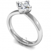 18ct White Gold Diamond Engagement Ring Princess Cut Solitaire Court Twist Shaped Band