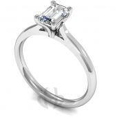 9ct White Gold Diamond Engagement Ring Emerald Cut Solitaire Court Shaped Band