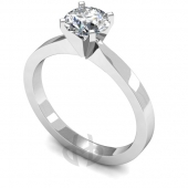 18 carat White Gold Diamond Engagement Ring  Brilliant Cut Solitaire - Flat Shaped Band