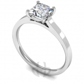 18ct White Gold Diamond Engagement Ring Princess Cut Solitaire Flat Court Shaped Band