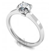 18 carat White Gold Diamond Engagement Ring  Brilliant Cut Solitaire - Flat Court Shaped Band