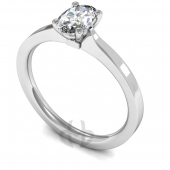 18 carat White Gold Diamond Engagement Ring  Oval Cut Solitaire - Flat Court Shaped Band