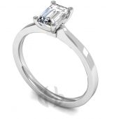 9ct White Gold Diamond Engagement Ring Emerald Cut Solitaire Flat Court Shaped Band