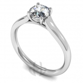9 carat White Gold Diamond Engagement Ring  Brilliant Cut Solitaire - Court Shaped Band