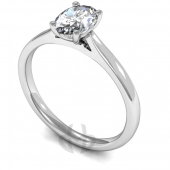 18 carat White Gold Diamond Engagement Ring  Oval Cut Solitaire - Court Shaped Band