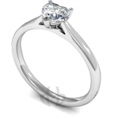 9 carat White Gold Diamond Engagement Ring Heart Cut Solitaire - Court Shaped Band