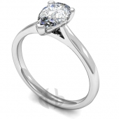 Palladium Diamond Engagement Ring Pear Cut Solitaire - Court Shaped Band