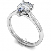 9 carat White Gold Diamond Engagement Ring Pear Cut Solitaire - Court Shaped Band