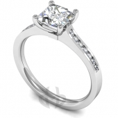 Platinum Diamond Engagement Ring Centre Stone Setting with Shoulder Stones - Fast Delivery