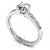 Platinum Diamond Engagement Ring Claw setting with Shoulder Stones