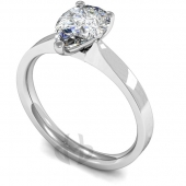 Palladium Diamond Engagement Ring Pear Cut Solitaire - Flat Court Shaped Band