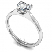 18 carat White Gold Diamond Engagement Ring Heart Cut Solitaire - Court Shaped Band