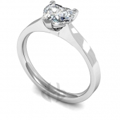 18 carat White Gold Diamond Engagement Ring Heart Cut Solitaire - Flat Court Shaped Band