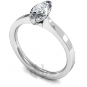 18 carat White Gold Diamond Engagement Ring Marquise Cut Solitaire - Flat Court Band
