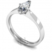 9 carat White Gold Diamond Engagement Ring Marquise Cut Solitaire - Flat Court Band