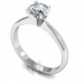 9 carat White Gold Diamond Engagement Ring  Brilliant Cut Solitaire - D Shaped Band