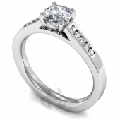 Platinum Diamond Engagement Ring with Channel Set Shoulder Stones
