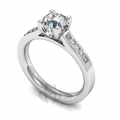 Platinum Diamond Engagement Ring  U claw Centre Setting with Square Side Stones- Fast Delivery