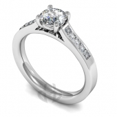Platinum Diamond Engagement Ring, Round Centre Stone with Square Side Stones