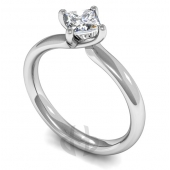 18ct White Gold Diamond Engagement Ring Princess Cut Solitaire Court Shaped Band