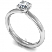Palladium Diamond Engagement Ring  Brilliant Cut Solitaire - Court Shaped Band