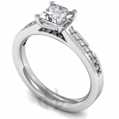 Platinum Diamond Engagement Ring Claw Setting with Channel Set Side Stones- Fast Delivery