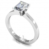 9ct White Gold Diamond Engagement Ring Emerald Cut Solitaire Flat Shaped Band