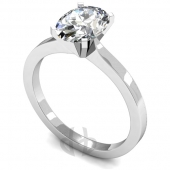 Palladium Diamond Engagement Ring Oval Solitaire - Flat Shaped Band