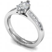 Platinum Diamond Engagement Ring 6 Claw Set Marquise Diamond with Side Stones- Fast Delivery