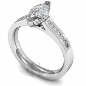 Platinum Diamond Engagement Ring 2 Claw Set Marquise Diamond with Side Stones- Fast Delivery
