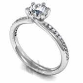 Platinum Diamond Engagement Ring Crossover Setting with Shoulder Stones