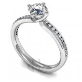 Platinum Diamond Engagement Ring with Shoulder Stones and Crossover Setting