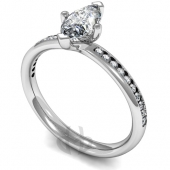 Platinum Diamond Engagement Ring Marquise Centre Stone with Side Stones