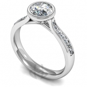 Platinum Diamond Engagement Ring Rubover Setting And Shoulder Stones - Fast Delivery