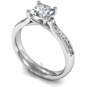 Platinum Diamond Engagement Ring 4 Claw Cossover Setting with Shoulder Stones - Fast Delivery