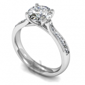 Platinum Diamond Engagement Ring Crossover Setting  with Shoulder Stones - Fast Delivery