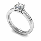 Platinum Diamond Engagement Ring with Shoulder Stones 4 claw setting