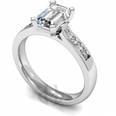 Platinum Diamond Engagement Ring Emerald Centre Stone, Flat Claw Setting