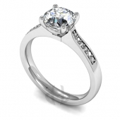 Platinum Diamond Engagement Ring with Round Claw Setting and Shoulder Stones