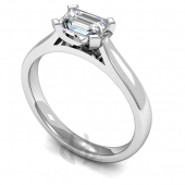18ct White Gold Diamond Engagement Ring Emerald Cut Solitaire Court Shaped Band
