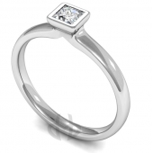 Palladium Diamond Engagement Ring Princess Cut Solitaire Court Shaped Band