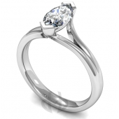 9 carat White Gold Diamond Engagement Ring Marquise Cut Solitaire - Court Shaped Band