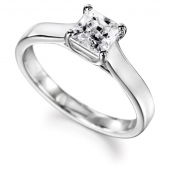 Palladium Diamond Engagement Ring Princess Cut Solitaire - Fast Delivery