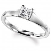 9ct White Gold Diamond Engagement Ring Princess Cut Solitaire - Fast Delivery