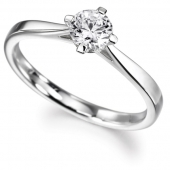 18ct White Gold Diamond Engagement Ring Brillant Cut Solitaire - Fast Deliveryy