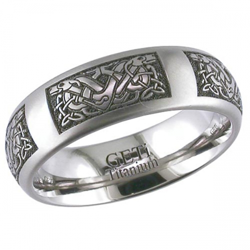 Celtic Patterned (2204CD4) Titanium Wedding Ring
