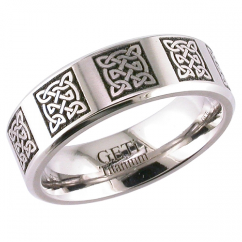 Celtic Patterned (2226cd10) Titanium Wedding  Ring