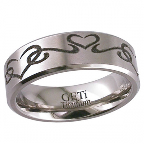 Patterned Titanium Wedding Ring (2226CHLOVE2)