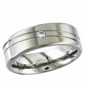 Titanium Ring -  Diamond Solitaire Titanium Ring