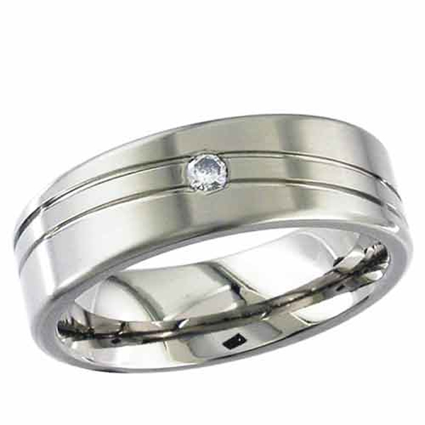 Titanium rings diamond solitaire titanium ring 2235ds
